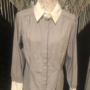 Apt 9 Grey & White Striped Blouse